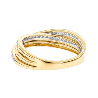 Luxurman 14k Gold 2/5ct TDW Diamond Criss-cross Right Hand Ring