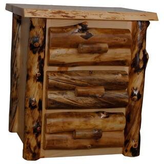Rustic Aspen Log 3 Drawer Nightstand