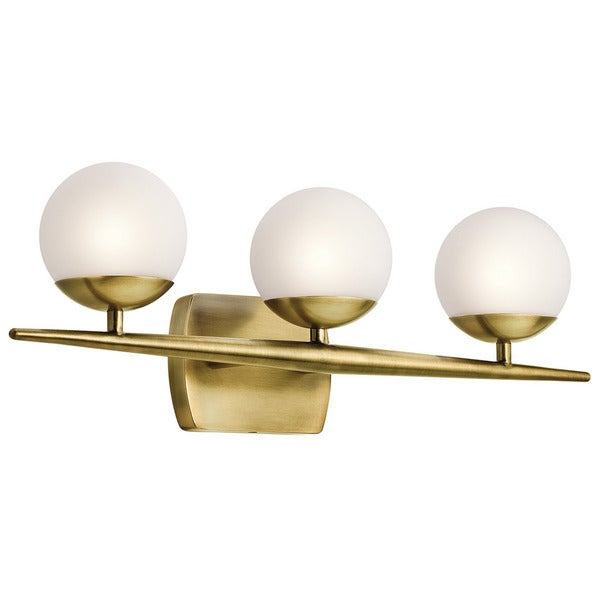 Bathroom Vanity Halogen Lights : Kichler Lighting Jasper Collection 3-light Natural Brass Halogen Bath/Vanity Light - Free ...
