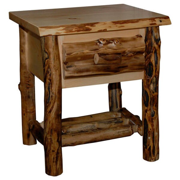 Rustic Aspen Log 1 Drawer Nightstand - Brown