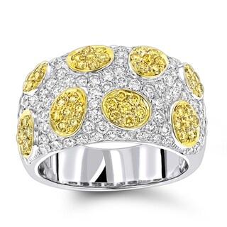 Luxurman 14k White Gold 2 2/5ct TDW White and Yellow Diamond Unique Ring (G-H, SI1-SI2)
