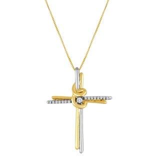 Espira 10K Two-Tone Gold .07 CTTW Round Cut Diamond Cross Pendant Necklace (I-J, I2-I3)