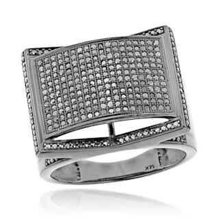Luxurman 14k Black Gold Men's 1ct TDW Black Diamond Ring