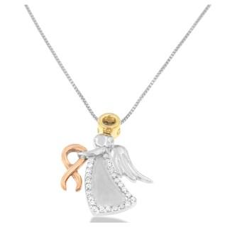 10k Tri-color Gold 1/6ct TDW Round-cut Diamond Angel Pendant (H-I, I1-I2)