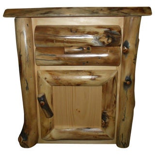 Rustic Aspen Log End Table or Nightstand- 1 Door and 1 Drawer