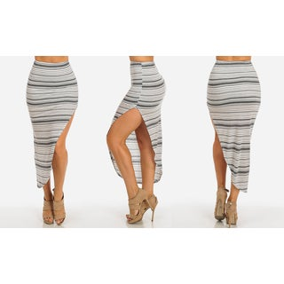 Women's Grey Rayon Blend High-waisted Striped Asymmetrical Slit Skirt