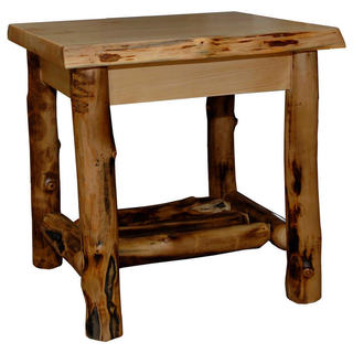 Rustic Aspen Log End Table