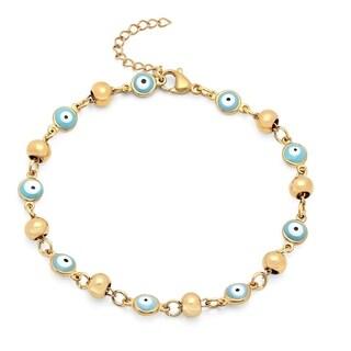 18k Goldplated Blue Evil Eye Bracelet