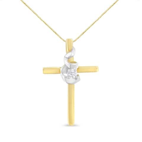 Espira 10K Yellow Gold .03ct. TDW Diamond Accent Cross Pendant Necklace (J-K, I2-I3)