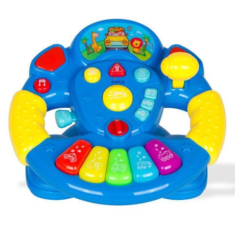 Dimple DC12436 Children's Play Steering Wheel with Buttons, Lights and Sounds on a Detachable Swivel - Multi Color