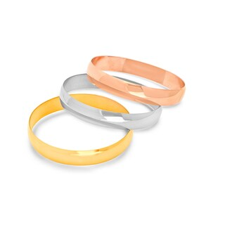 Women's Tricolor 18k Goldplated Stainless Steel Bangles (Set of 3)