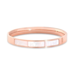 18k Rose Gold-plated Stainless Steel Mother of Pearl Bangle