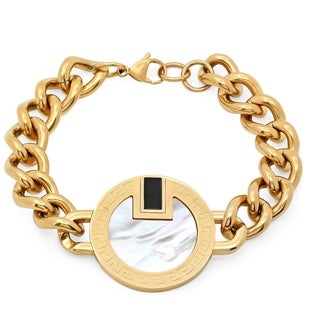 18k Gold-plated Stainless Steel Mother of Pearl Link Bracelet