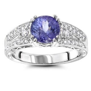 Luxurman Women's 14k Gold 1/3ct TDW Diamond and Tanzanite Engagement Ring (H-I, SI1-SI2)