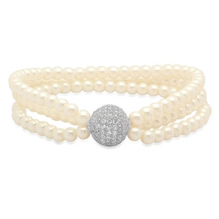 18k White Goldplated CZ Bead Faux Pearl Bracelet