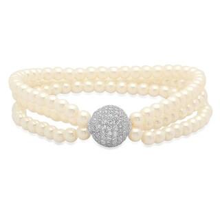 Piatella Ladies White Gold Tone Cubic Zirconia Bead Faux Pearl Bracelet
