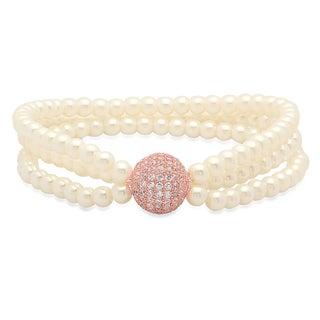 Piatella Women's Rose Gold Tone Faux Pearl Cubic Zirconia Bead Bracelet