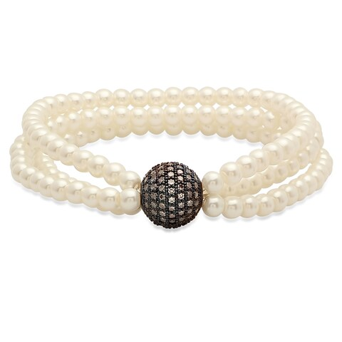 Faux Pearl Bracelet with Black IP Cubic Zirconia Bead