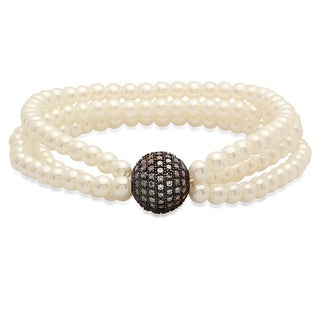 Faux Pearl Bracelet with Black IP Cubic Zirconia Bead