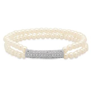 Women's Faux Pearl Cubic Zirconia 18k White Goldplated Bar Bracelet