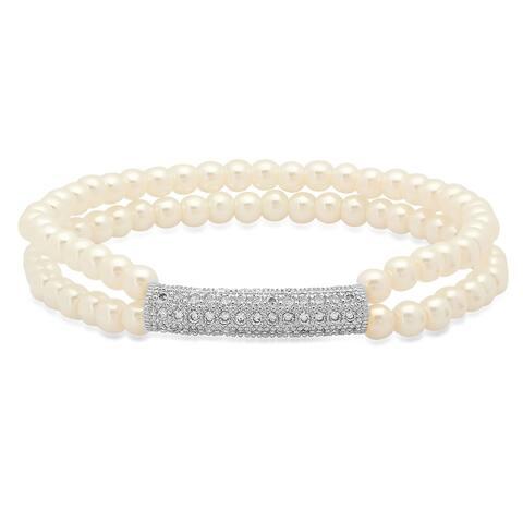 Piatella Women's Faux Pearl Cubic Zirconia Bar Bracelet