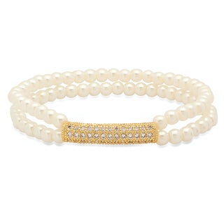 18k Gold-plated Cubic Zirconia Bar and Faux Pearl Bracelet