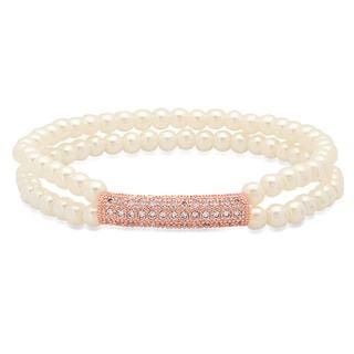 18k Rose Goldplated Faux Pearl Cubic Zirconia Bar Bracelet