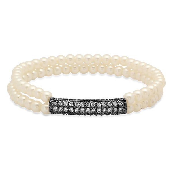 Oakland Living Beige White And Black Indoor 6 Piece Faux: Shop Faux Pearl Bracelet With Black IP Cubic Zirconia Bar