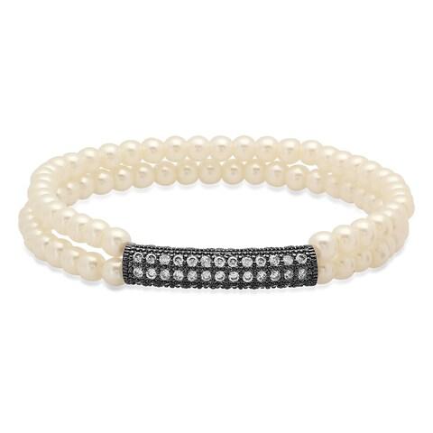 Faux Pearl Bracelet with Black IP Cubic Zirconia Bar