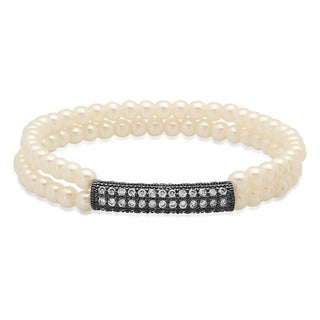 Faux Pearl Bracelet with Black IP Cubic Zirconia Bar