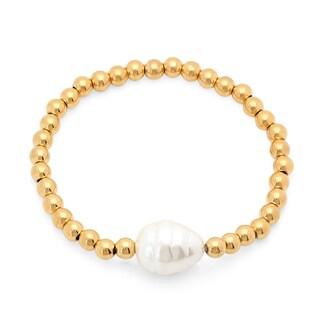 Women's Freshwater Pearl 18k Goldplated Bead Bracelet