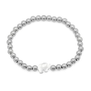Silvertoned Stainless Steel Beaded Bracelet with Mother of Pearl Elephant Silhouette