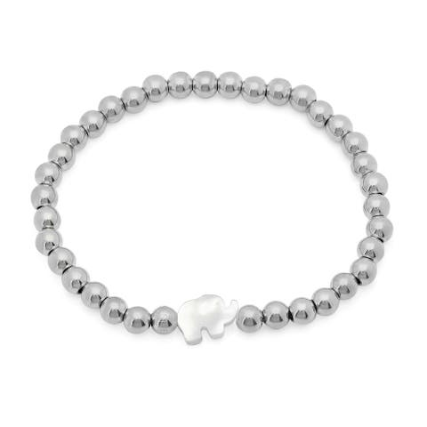 Piatella Ladies Stainless Steel Beaded Bracelet with Mother of Pearl Elephant Silhouette