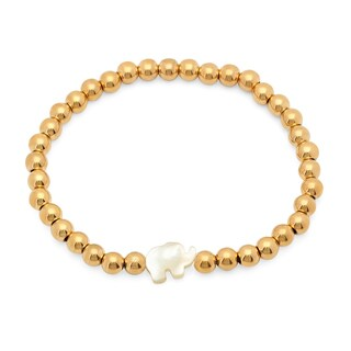 18k Gold-plated Stainless Steel Beaded Bracelet with Mother of Pearl Elephant Silhouette