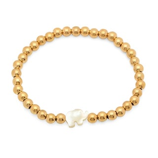 Piatella Ladies Gold Tone Beaded Bracelet with Mother of Pearl Elephant Silhouette