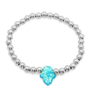Silvertone/Blue Stainless Steel Beaded Bracelet with Shell Pearl
