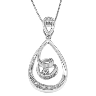 Espira 10k White Gold Diamond Accent Tear Drop Swirl Pendant (H-I, I2-I3)