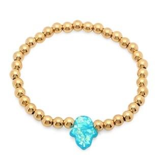 18k Gold over Silver Blue Shell Pearl Beaded Bracelet (13-14mm)