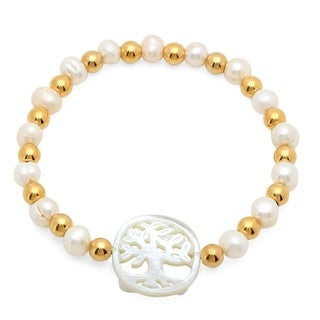 Women's Tree of Life Freshwater Pearl with Mother of Pearl 18k Goldplated Bracelet