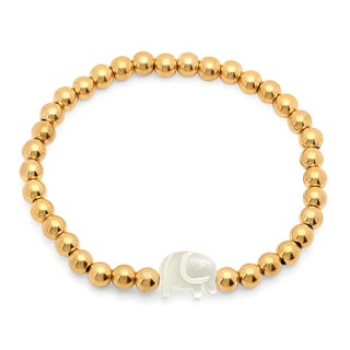 18k Gold-plated Stainless Steel Mother of Pearl Elephant Beaded Bracelet