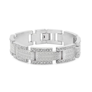 Men's Silvertone Cubic Zirconia Stainless Steel Greek Key Link Bracelet