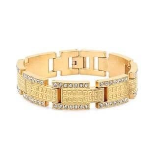 Men's 18k Gold-plated Stainless Steel Cubic Zirconia Greek Key Link Bracelet
