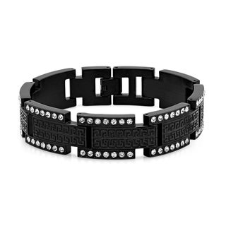 Men's Cubic Zirconia Black IP Stainless Steel Greek Key Link Bracelet