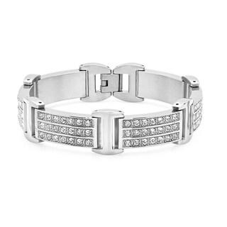 Men's Silvertoned Stainless Steel Cubic Zirconia Lined Bracelet