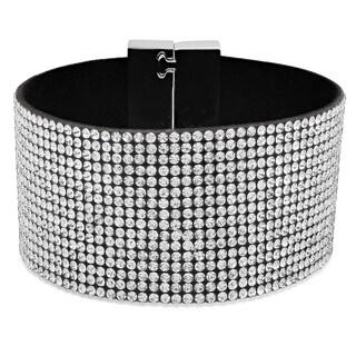 Women's Black Velvet White Cubic Zirconia Bracelet