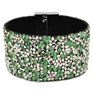 Women's Black Velvet Green Cubic Zirconia Bracelet