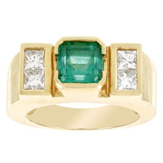 H Star 18k Yellow Gold 1 1/4ct Emerald and 1 1/3ct Princess-cut Diamond Ring (G-H, VS1-VS2)