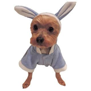 L&C Puppy-Ro Puppy Dog Baby Blue Fleece Hooded Bunny Suit