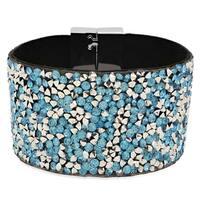 Women's Black Velvet Blue Cubic Zirconia Bracelet