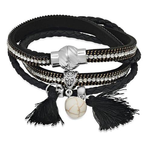 Black Base Metal Cubic Zirconia Two-in-one Wrap Bracelet/Choker Necklace